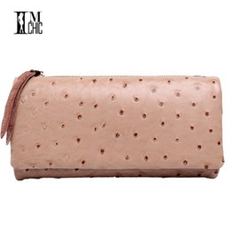 Wholesale Tri Fold Long Wallet - Wholesale- Genuine Leather Ostrich Pattern Women Wallets Vintage Real Cowhide Tri-fold Candy Color Long Purse Lady Billeteras mujeres 071