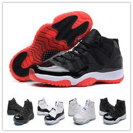 Wholesale Mid Top Shoes - Men Air Retro 11 Bred Concord Baskebtall Shoes 2017 Men Women Trainers Space Jam 72-10 Top quality Airs 11s Athletic Sport Sneakers