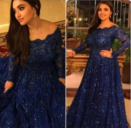 Wholesale off shoulder shirt dress - 2017 New Long Sleeve Lace Prom Evening Dresses Capped Floor Length Royal Blue Custom Formal Evening Gowns Plus Size