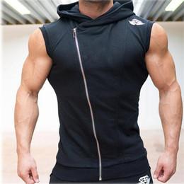 Wholesale Formal Hoodie - Wholesale- 2017 New Men's Hoodie Brand Sweatshirts Fitness Formal Tees Shirt Cotton Vest Singuletts With Hooded Undershirt
