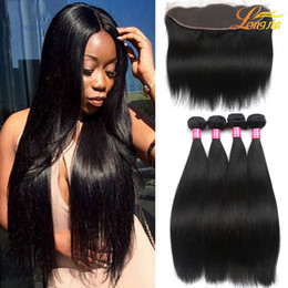 Wholesale Brazilian Virgin Indian - Brazilian Virgin Hair Straight with lace Frontal 4Pcs Ear to Ear Lace Frontal Closure straight Virgin Hair 13x4 Frontal With Bundles Deals