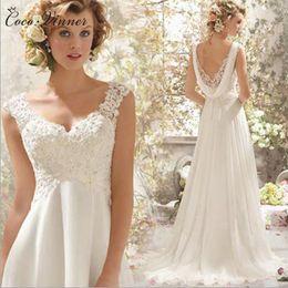 Wholesale High Waist Bridal Dress - C.V Greece Style High Waist V neck Straps Chiffon Beach Wedding Dresses Botton Back With Wrap Appliques Beading Bridal Dresses W0125