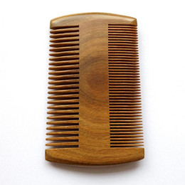 Wholesale Handmade Brushes - 9.5cm * 5.5cm Natural Sandalwood Pocket Beard & Hair Combs for Men - Handmade Natural Wood Comb with Dense and Sparse Tooth