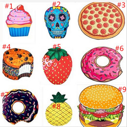 Wholesale Bath Cushions - Chiffon Round Beach Towel 9 design Pizza Donuts Hamburger Skull Ice Cream Strawberry Watermelon Towel Shawl Yoga cushion 200pcs