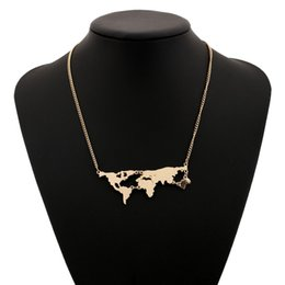 Wholesale Earth Globe Necklace - Hot Sale World Map Necklace Earth Day Gift Globe Chain World Earth Jewelry Punk Style Gold Plated Women Men Mother Earth Wanderlust Pendant