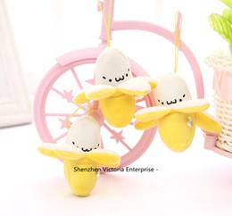 Wholesale Banana Key Chains - Wholesale- Wholesale NEW Little 6CM Yellow Cute Banana Stuffed Plush TOY , String BAG Key Chain TOY DOLL For Weddng Bouquet