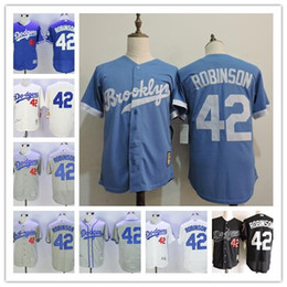 83f0b500 ... Mens Los Angeles Brooklyn Dodgers 42 Jackie Robinson Black Cooperstown  Collection 1955 Throwback baby blue gray .