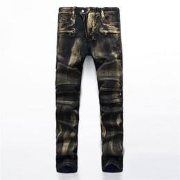Wholesale Wash Design Denim Pant - Paris Brand Jeans Men Brand Design Denim Skinny Jeans Men Fashion Hip Hop Jeans for Men Golden Tide Pants Man Trousers Freeshipping