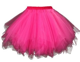 Wholesale Women Ballet Tutu Skirt - Fushia Pink Skirt For Women Halloween Costumes Plus Size Aline Rainbow Cosplay Short Tulle Petticoat Ballet Bubble Mini Elastic Dance Tutu