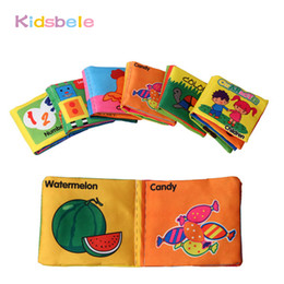 Wholesale Soft Cloth Books For Infants - Wholesale- Baby Rattles Toy 6PCS Soft Cloth Book For Newborn Early Learning Education Infant Stroller Crib Pram Baby Bebe Toys 0-12 Months