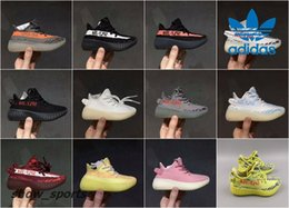 Wholesale Fall Kid - Kids Adidas Yeezy Boost 350 V2 Cream White Zebra Sply 350 Semi Frozen Beluga Boy Girls Running Shoes Sport Children Kanye West Yezzy