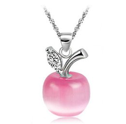 Wholesale Korean Small Pendant Necklace - Korean Korean fashion jewelry cat's eye small Apple Necklace Necklace