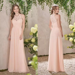 Wholesale Peach Wedding Gowns - 2018 A Line Chiffon Peach Bridesmaid Dresses Lace Bodice Jewel Neck Zipper Back Maid of Honor Gowns Cheap Wedding Guest Dress