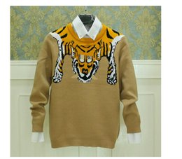 Wholesale Tiger Fashion Sweaters - Wholesale- top quality Autumn and winter fashion tiger pattern sweater men hot sale