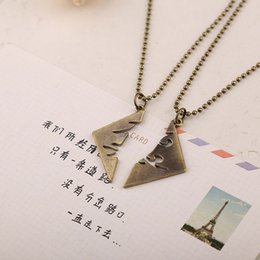 Wholesale runes mortal instruments - The Mortal Instruments City of Bones Parabatai Couples Necklace Broken Rune Pendant Necklaces cosplay props film jewelry Drop Ship 160407