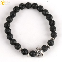 Wholesale Buddha Stone Antique - CSJA Cheap Round Natural Black Lava Rock Stone Mala Beaded Bracelet Women Men Gift Antique Silver Helmet Buddha Balance Hand Jewelry E135