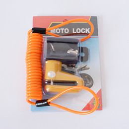 Wholesale motorcycle lock chain - bicycle key lock with Security Reminder rope Scooter Cycling Safety Anti-theft Disc lock bike Motorcycle Brake Rotor Lock set