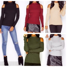 Wholesale Sexy Shirts Sweaters - autumn winter women fashion off the shoulder knitted sweater long sleeve turtleneck shirt female sexy warm jumper