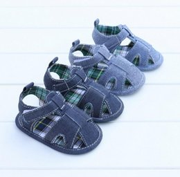 Wholesale Toddler Boys Canvas Sandals - 2017 new boys soft sandals cheap kids summer toddler shoes 0 - 18 months baby casual canvas shoes free shipping 6pair B7