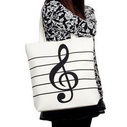 Wholesale Music School Bag - Wholesale-Fashion Women Girl Casual Canvas Music Notes Handbag School Satchel Tote Shopping Bag Shoulder Casual Tote Shoulder Bags