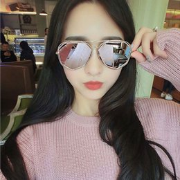 Wholesale Vintage Glass Frog - Women Round Double Beam driver Sunglasses Clear lens Vintage Glasses UV400 Multi Colored sunglasses Colorful reflective frog lens