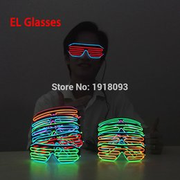 Wholesale Festival Lights For Sale - Wholesale- Hot Sales Glowing Two Color EL Wire Glasses 17 style Festival Party Decorative LED Neon Glasses Light-up Toys For By DC3V Driver