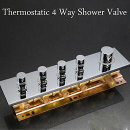 deviatore in ottone Sconti Valvola di deviazione in ottone a parete per valvola di miscelazione termostatica a 4 vie ad alta portata moderna per docce