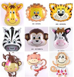 Wholesale Inflatable Head Balloon - Inflatable baby toys Mini Animal Foil Balloons Lion Cow cartoon Animal Head Air Balloon birthday party Decor baby classic toys
