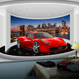 Wholesale Green Living Tv - Wholesale- Custom Any Size 3D Sports Car Poster Photo Wallpaper Living Room Study Bedroom TV Background Wall Mural Wallpaper De Parede 3D