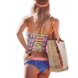 a50424d31d95b 2018 Retro Sexy Floral Crop Corset Bandage Biquini Zipper Swimsuit Swim  Bathing Suit Swimwear Women Brazilian Push Up Bikini