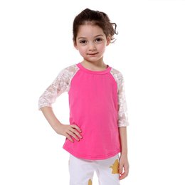 Wholesale Girls Princess Tee Shirts - Lace Sleeve Raglan Girls T-shirt Princess Spring Girls Clothes Lace Sleeve Kids Tees 6T Girls Top Clothes