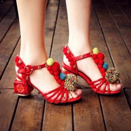 Wholesale Diamond Sandals Open Toe - 2017 Bohemian women pom pom sandals summer embroidery party shoes gladiator sandals open toe dress shoes ankle strap diamond high heels