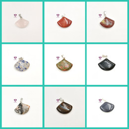 Wholesale Topaz Pendants Wholesale - Natural stone tiger eye stone crystal gemstone pendant treatment stone mixed color wholesale sector pendant necklace free shipping
