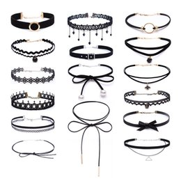 Wholesale Gothic Wholesalers - 4-16pcs Women Black Velvet Lace Stretch Tattoo Choker Necklaces Set For Girls Maxi Jewelry Gothic Tattoo Harajuku Ribbons Necklace