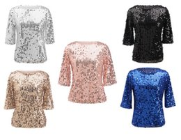 Wholesale Christmas Blouses - Bling Bling Sequin Shinging Top Women Sparkle Glitter Tank Christmas Party Short Sleeve T-Shirt Casual Blouse