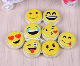 Jóia bonito da caixa da lata on-line-Nova escala de ferro rodada lata bonito Emoji Caixa De Armazenamento para Jóias, Pequenas Coisas Coe Organizador Caixas de armazenamento de zero carteira / caixa de fone de ouvido GG35