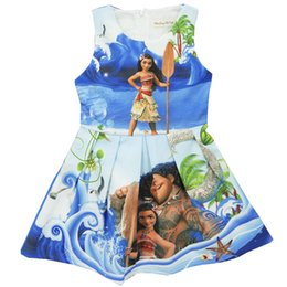 Wholesale Girls Color Dress - Girl Moana Princess dress 2017 New Children high quality cartoon moana sleeveless vest dresses clothes 2-8 years B001