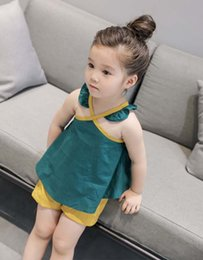 Wholesale Good Quality Wholesale Fashion Clothing - Cute Fashion Girls Clothes Wholesale good quality Kids Sets Summer tank tops Girls Condole Belt + shorts 2pcs best Children Suit A877