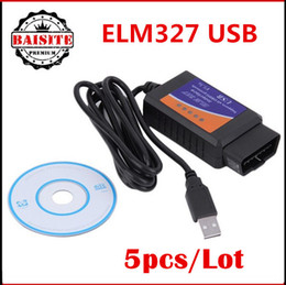 Wholesale Can Bus Interface Usb - 5pcs Lot ELM327 USB OBD2 Auto car Diagnostic Tool ELM 327 V2.1 USB Interface OBDII CAN-BUS Scanner hot selling