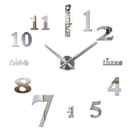 Wholesale Diy 3d Clock - Wholesale-2016 hot new Quartz clocks fashion watches 3d real big wall clock rushed mirror sticker diy modern design decor free shipping