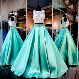 Wholesale Two Piece Evening Wear Tops - Gorgeous Two Piece Mint Green Prom Gowns Lace Crop Top Hollow Back Dresses Evening Wear Beading Crystals Ruffles Satin Robe De Soiree