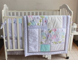 Wholesale Crib Bedding Sets Wholesale - Wholesale American Nursery Bedding Set 4 PCS Girls Crib Cotton Bedding Set Dream of Silver Butterfly Inc Comforter,Bumer, Coverlet and Skirt