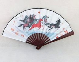 """Wholesale Men Chinese Cloth - 10"""" Large Decorative Silk Cloth Folding Fan For Male Costume Dance Show Props Hand Held Fans Chinese style Crafts Gift 5pcs lot Free shippin"""