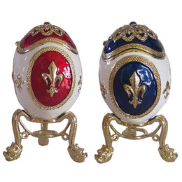 Wholesale Metal Easter Eggs - Russian faberge style egg trinket box bejeweled Easter egg jewelry box Russian crafts