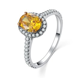 Wholesale Vintage Solid Gold Rings - Vintage 2Ct Yellow Oval Cut Paved Synthetic Diamond Wedding Female Ring Solid 925 Sterling Silver Ring White Gold Plated Jewelry