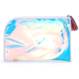 Wholesale Transparent Envelope Handbag - fashion hologram women handbags small day clutch bags tassels summer purse zipper transparent envelope party bag