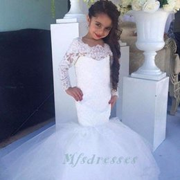 Wholesale Girls White Lace Tulle Skirt - Pretty White Kids Prom Dresses Lace Applique Long Sleeve Mermaid Tulle Skirt Lace Up Back Flower Girl Dresses Formal Wedding party Gown