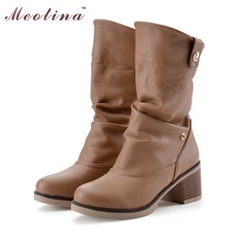 Wholesale Large Sized Ladies Shoes - Wholesale- Vintage Women Boots Western Shoes Women Chunky Mid Heels Round Toe Mid Calf Boots Ladies Shoes White Brown Large Size 42 43