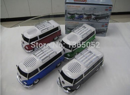 Wholesale U Disk Shaped - Wholesale- promotion arrival 10pcs lot WS-266 colorful mini speaker car shape mini bus speaker sound box MP3++U disk+TF+FM function