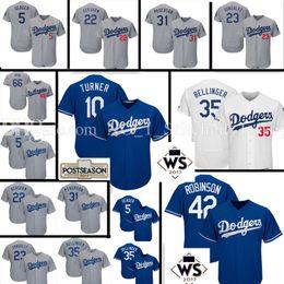 Wholesale Los Dodgers - Men's #35 Cody Bellinger 10 Justin Turner Jersey Los Angeles Dodgers Clayton Kershaw Corey Seager Pederson 2017 World Series Patch Jerseys